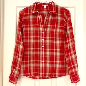James Perse | Red Plaid Button Down Blouse